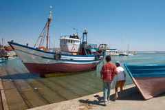 Port in Essaouira. Old port in Essaouira. Morocco Royalty Free Stock Photography