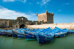 In the port of Essaouira. A fleet of blue fishing boats huddled together in the port of Essaouira in Morocco. You can also see the fortifications and a tower of Stock Photography