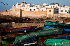 Port of Essaouira. Viewpoint port of Essaouira, boats out of the water, Morocco Stock Photography