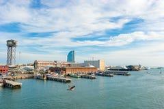 Port et hôtel de W Barcelone Photos libres de droits
