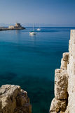 Port et phare Saint-Nicolas, Rhodes Image stock