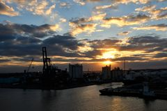 Port Everglades at sunset royalty free stock images