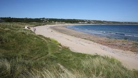 Port Eynon beach The Gower Peninsula Wales uk popular tourist destination and near Three Cliffs Bay. In summer stock footage