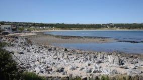 Port Eynon coast The Gower Peninsula Wales uk popular tourist destination and near Three Cliffs Bay stock video footage