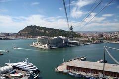 port för barcelona kabelbil royaltyfri fotografi