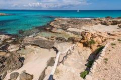 Port för Es Calo i den Formentera ön Arkivfoto