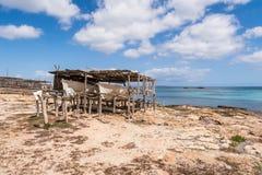 Port för Es Pujols i Formentera Arkivfoton