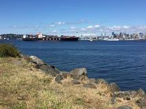 Port för Hanjin behållareskepp av Seattle royaltyfri fotografi