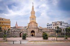 Port för klockatorn - Cartagena de Indias, Colombia Fotografering för Bildbyråer