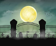 Port för konturkyrkogårdkyrkogård med månenatt royaltyfri illustrationer
