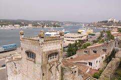 port för menorca för fartygfiskemahon arkivbilder