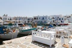 port för paros för greece önaoussa arkivbild