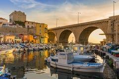 Port för Vallon des Auffes - Marseille Frankrike Fotografering för Bildbyråer