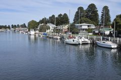Port Fairy Town Victoria Australia. Yachts and sailing boats mooring on Moyne River at Port Fairy coastal town in south-western Victoria, Australia stock photo