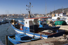 Port of Favignana. With small fishing boats stock photo