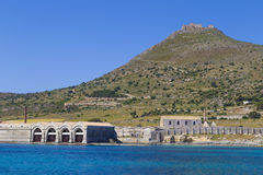 Port of Favignana and Forte Santa Caterina castle on top of mountain, Sicily, Stock Photos