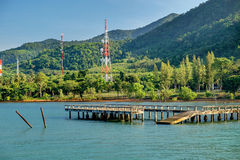 Port ferry boat with concrete  pier. Stock Photo