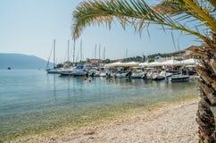 Port of Fiskardo on Kefalonia island, Greece. Stock Images