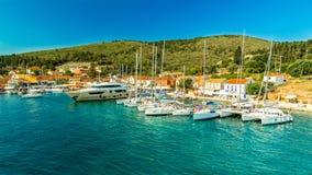 Port Fiskardo on Kefalonia island, Greece. Stock Images