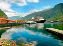 Port Flam with cruise ship. Aurlandsfjord, Norway Royalty Free Stock Photo