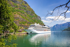 Port of Flam with cruise ship in Norway Royalty Free Stock Images