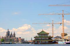 Port fluvial d'Amsterdam Images stock