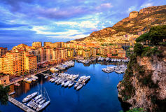 Port Fontvieille harbour in Old Town of Monaco. With luxury yachts and apartments on sunrise Royalty Free Stock Photography