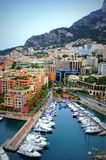 Port Fontvieille,Monaco view. Monte Carlo Monaco Marina Bay view and residential properties.Côte d'azur on rainy spring day Stock Image