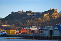 The port & the fortress. From the harbor and Fredriksten fortress in Halden. The picture is snapped 29/12-2011 Royalty Free Stock Photos