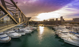 Port Forum Barcelona. Many yachts lying at Port Forum  Barcelona This port - one of the three ports of Barcelona Stock Photo