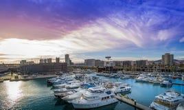 Port Forum Barcelona. Many yachts lying at Port Forum  Barcelona This port - one of the three ports of Barcelona Stock Photos