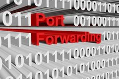 Port forwarding. In the form of binary code, 3D illustration Royalty Free Stock Photos