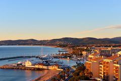 Frejus, FRANCE. The port of Frejus  a French Riviera at sunrise. Royalty Free Stock Images