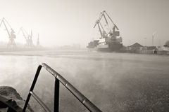 Port frosty morning. Stock Photography