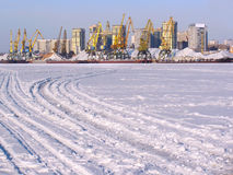 Port on frozen river Royalty Free Stock Images