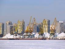 Port on frozen river Stock Photo