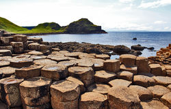 Port Ganny from Giants Causeway. Antrim Coastline, Northern Ireland. The Giants causeway is the most popular tourist destination along the Antrim coast.  It Stock Images