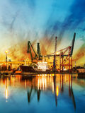 Port of Gdansk. Container ship at sunrise in Port of Gdansk, Poland Royalty Free Stock Image