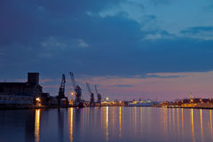 Port of Gdansk at night Stock Image