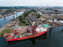 Port of Gdansk. Ship in a port of Gdansk, top view royalty free stock photo