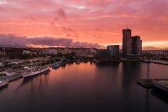 Port of Gdynia at sunset, top view Stock Photos