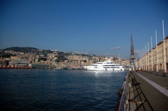 Port of genoa. A luxury superyacht in the port of genoa Stock Photography