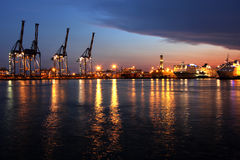 Port of Genoa. In a suggestive night image royalty free stock images