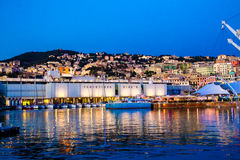The port of genoa at dusk, Italy Royalty Free Stock Photo