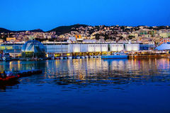 The port of genoa at dusk, Italy Stock Image