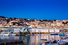 The port of genoa at dusk, Italy Stock Images