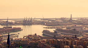 Port of Genoa, Italy. Overview of the port of Genoa, Italy Royalty Free Stock Photo
