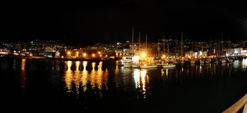 Port of Genoa in night Royalty Free Stock Photography
