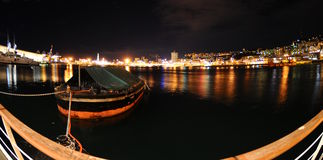 Port of Genoa in night Stock Photo