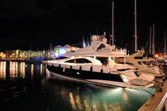 Port of Genoa in night. A luxury superyacht in the port of genoa in night Royalty Free Stock Photography